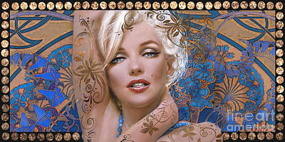 Marilyn Monroe Mixed Media - Danella Students 2 Blue by Theo Danella