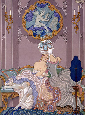 Lesbianism Painting - Dangerous Liaisons by Georges Barbier