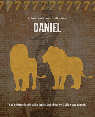 Lion Mixed Media - Daniel Books Of The Bible Series Old Testament Minimal Poster Art Number 27 by Design Turnpike
