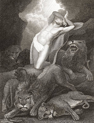 Bible Drawing - Daniel In The Lion S Den. From A 19th by Vintage Design Pics