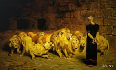 Lions Painting - Daniel In The Lions' Den - Da by Leonardo Digenio