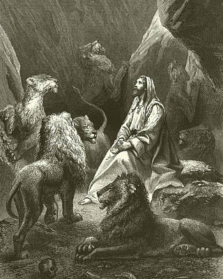 Daniel In The Lions' Den Print by English School