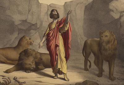 Daniel In The Lion's Den Print by Jean-Baptiste Auguste Leloir