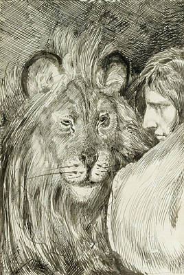 Daniel Drawing - Daniel In The Lion's Den by Max Klinger
