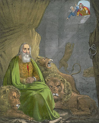 Daniel In The Lions' Den Print by Siegfried Detler Bendixen