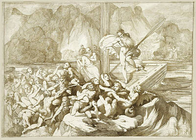 Luigi Sabatelli Drawing - Dante And Virgil Watching Charon Ferrying Souls To Hell by Luigi Sabatelli