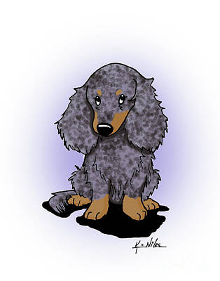 Doxie Drawing - Dapple Doxie by Kim Niles