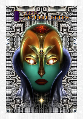 Daria Cyborg Queen Tech Fractal Portrait Print by Xzendor7