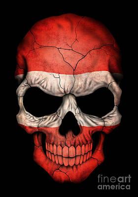 Dark Austrian Flag Skull Print by Jeff Bartels