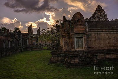 Dark Cambodian Temple Print by Mike Reid