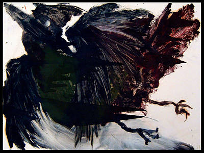 Printmaking Mixed Media - Dark Cardinal by Diana Ludwig