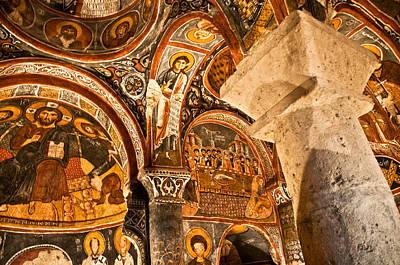 Dark Cave Church Byzantine Frescoes Print by Denise Lett
