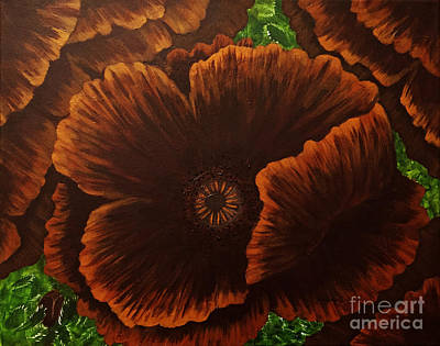 Dark Chocolate Poppies Print by Barbara Griffin