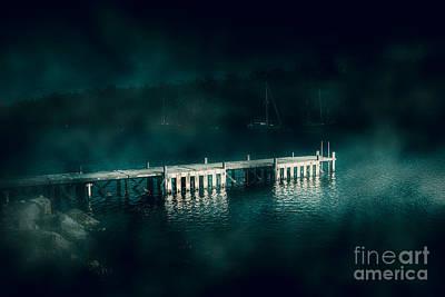 Evening Scenes Photograph - Dark Haunting Wooden Pier by Jorgo Photography - Wall Art Gallery