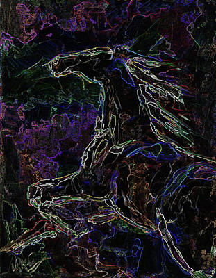 Painting - Dark Night Summer Horse by Laurie Pace