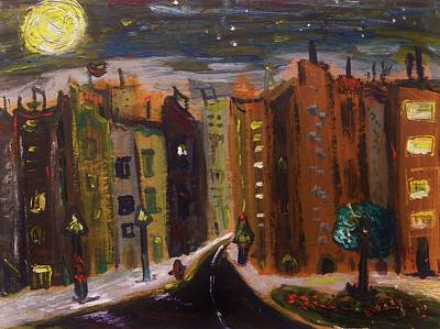Outsider Art Painting - Dark Night-golden Moon by Mary Carol Williams