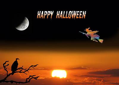 Invitations Digital Art - Dark Night Halloween Card by Adele Moscaritolo