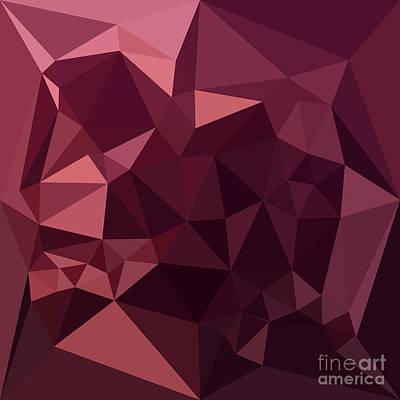 Raspberry Digital Art - Dark Raspberry Red Abstract Low Polygon Background by Aloysius Patrimonio