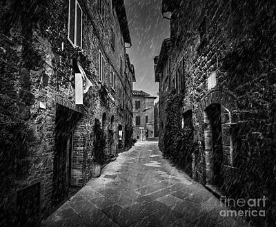 Narrow Photograph - Dark Street In An Old Italian Town In Tuscany, Italy by Michal Bednarek