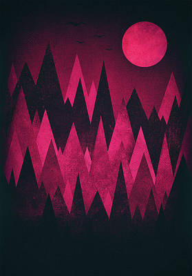 Crow Drawing - Dark Triangles - Peak Woods Abstract Grunge Mountains Design In Red Black by Philipp Rietz