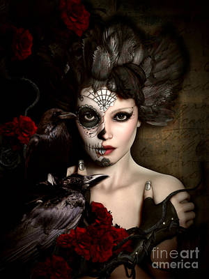 Roses Digital Art - Darkside Sugar Doll by Shanina Conway