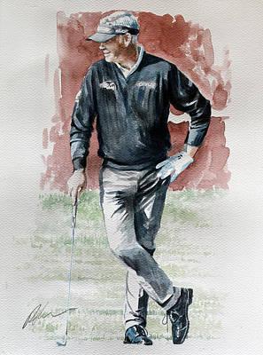 Golf Art Painting - Darren Clarke At The 2014 Hsbc Abu Dhabi by Mark Robinson