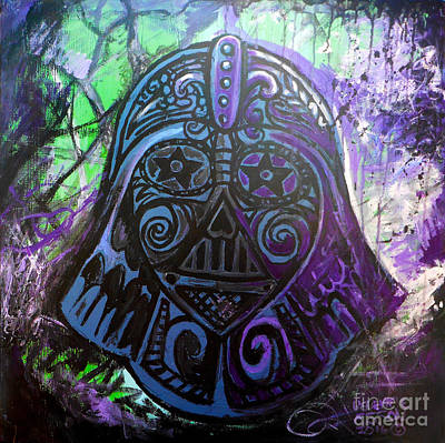 Outer Space Abstract Painting - Darth Vader Sugar Skull by Genevieve Esson