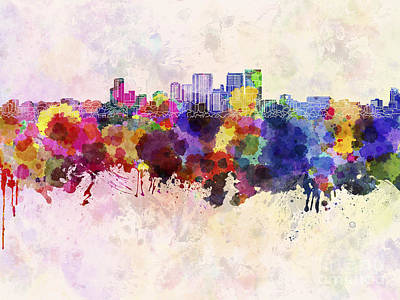 Darwin Painting - Darwin Skyline In Watercolor Background by Pablo Romero