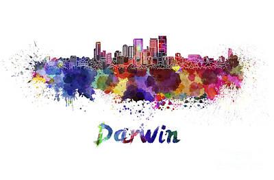 Darwin Painting - Darwin Skyline In Watercolor by Pablo Romero