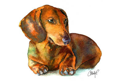 Hot Dogs Painting - Daschund Puppy Dog by Christy  Freeman