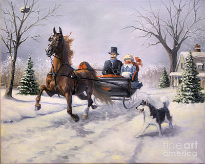 Winter Scene Painting - Dashing Through The Snow  II by Jeanne Newton Schoborg