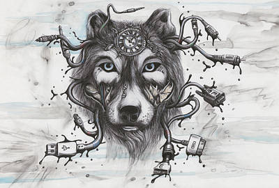 Data Mixed Media - Data Wolf by Tai Taeoalii