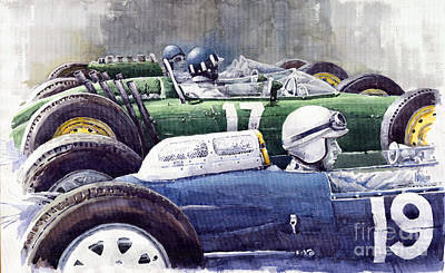 Datch Gp 1962 Lola Brm Lotus Print by Yuriy  Shevchuk