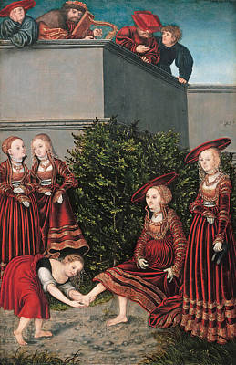 Bathsheba Painting - David And Bathsheba by Lucas Cranach the Elder