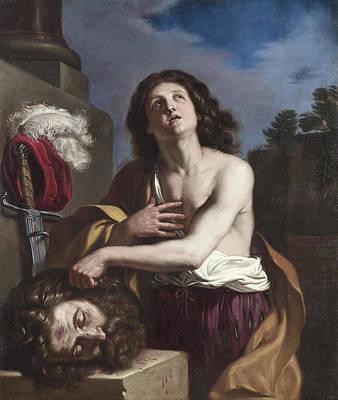 Giovanni Francesco Barbieri Painting - David And Head Of Goliath by Giovanni Francesco