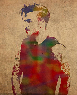 Soccer Mixed Media - David Beckham Watercolor Portrait by Design Turnpike
