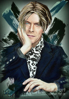 Electronic Mixed Media - David Bowie by Melanie D