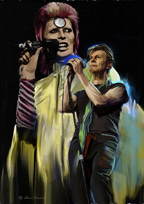 Album Covers Drawing - David Bowie  Performance  by Iconic Images Art Gallery David Pucciarelli