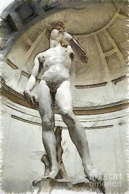 David By Michelangelo Pencil Print by Edward Fielding