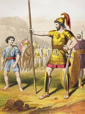 Bible Drawing - David Confronts Goliath. From The Holy by Vintage Design Pics