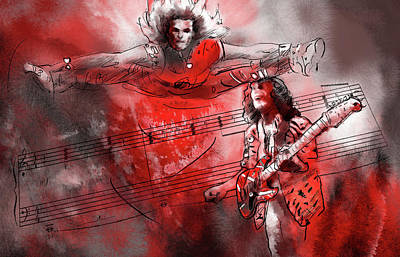 Van Halen Mixed Media - David Lee Roth And Eddie Van Halen Jump by Miki De Goodaboom