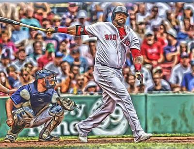 Red Sox Mixed Media - David Ortiz Boston Red Sox Oil Art 5 by Joe Hamilton
