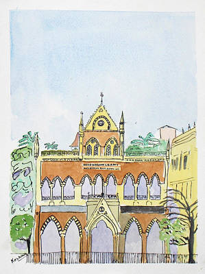 Watercolor Painting - David Sasson Library Mumbai by Keshava Shukla