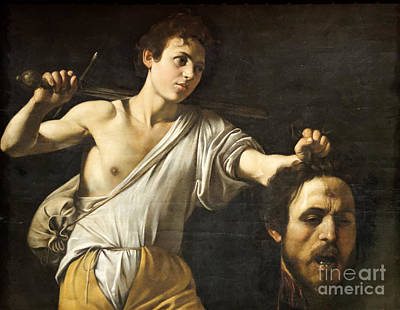 David With The Head Of Goliath Print by Celestial Images