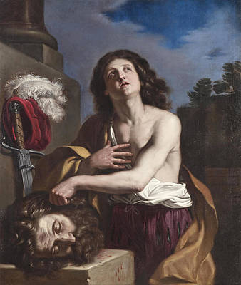 Guercino Painting - David With The Head Of Goliath by Guercino and Workshop