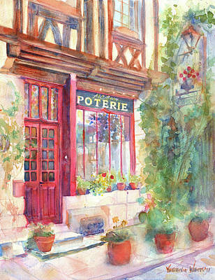 Store Fronts Painting - David's Europe 2 - A And C Squire Poterie European Street Scene Watercolor by Yevgenia Watts