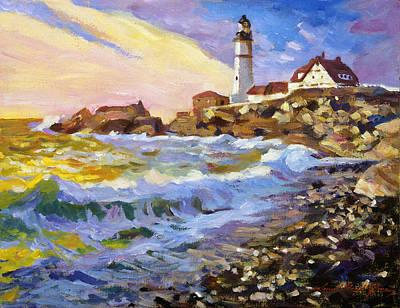 East Coast Painting - Dawn Breaks Cape Elizabeth Plein Air by David Lloyd Glover