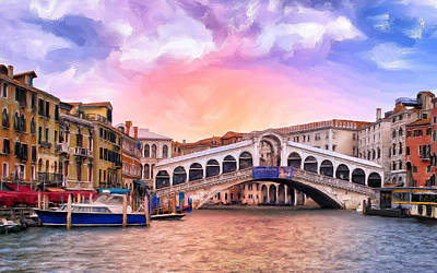 Waterscape Painting - Dawn Light At Rialto Bridge by Dominic Piperata
