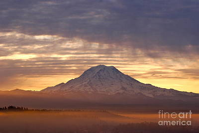 Lightscapes Photograph - Dawn Mist About Mount Rainier by Sean Griffin