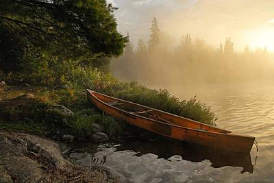 Canoe Photograph - Dawn On Boot Lake by Larry Ricker